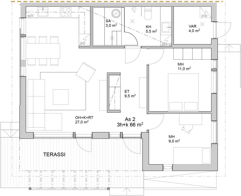 Paloheinäntie 54B myyntipohjakuva asunto 2.