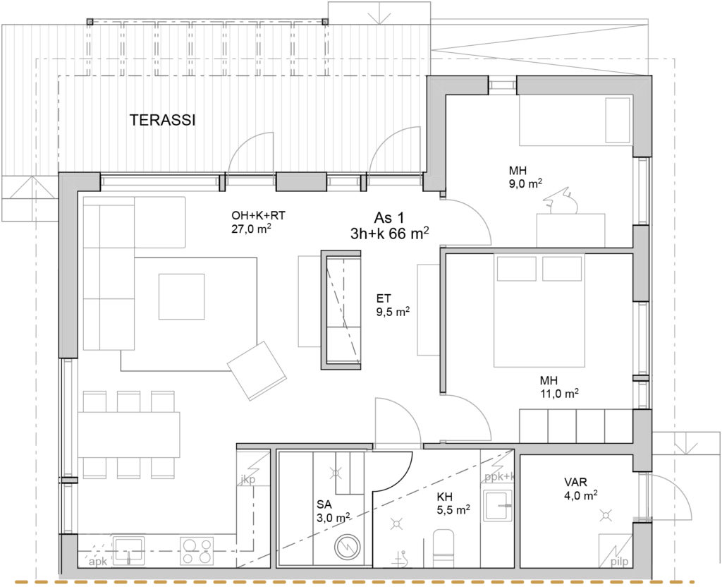 Paloheinäntie 54B myyntipohjakuva asunto 1.
