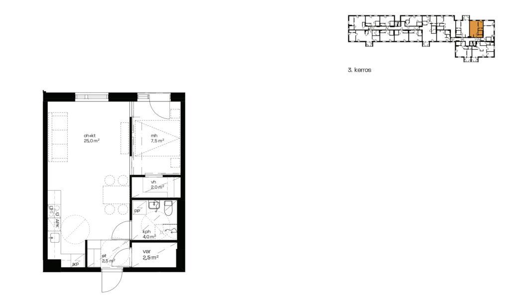 As. Oy Vantaan Kulmalan myyntipohjakuva asunnosta A10