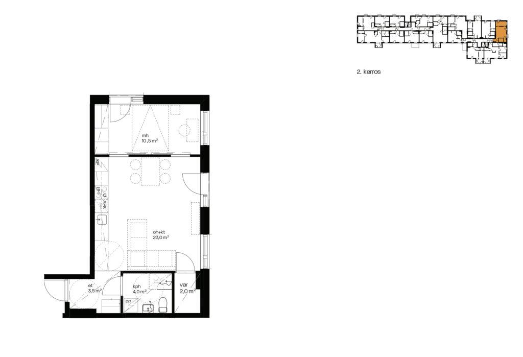 As. Oy Vantaan Kulmalan myyntipohjakuva asunnosta A2