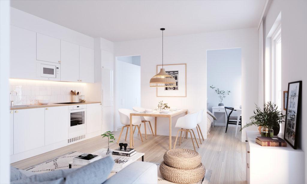 Asunto Oy Vantaan Kulmala havainnekuva keittiöstä, asunto A02.