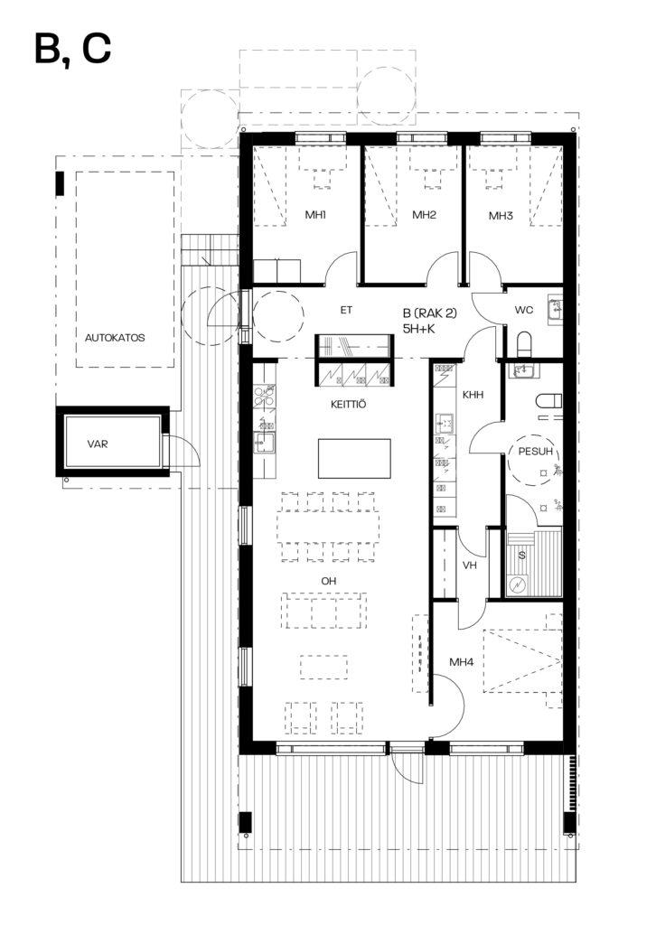 Kromitie 16 myyntipohja asunnot B ja C.