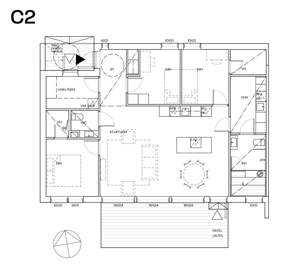 Yrttikuja 12C myyntipohjakuva C2-asunto.