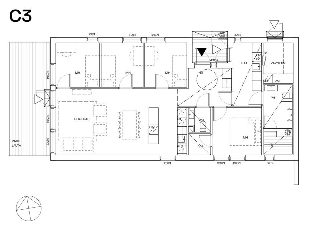 Yrttikuja 12C myyntipohjakuva C3-talo.